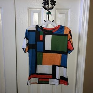 multicolored block patterned tshirt